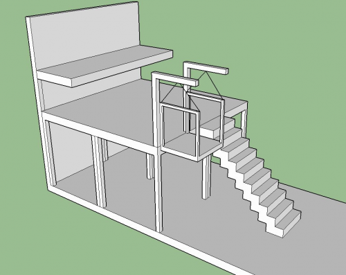 Platform with Elevator and Stairs