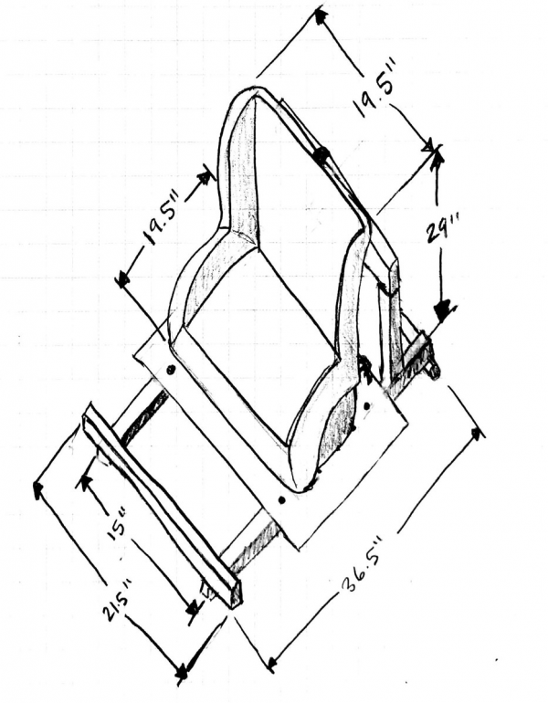 Sketch of car seat and mounting design.