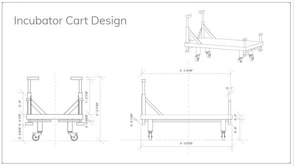 A refined mechanical drawing of the incubator cart. Cart was designed by Austin Zuercher, and Alexa Boyd refined the idea for a mechanical drawing