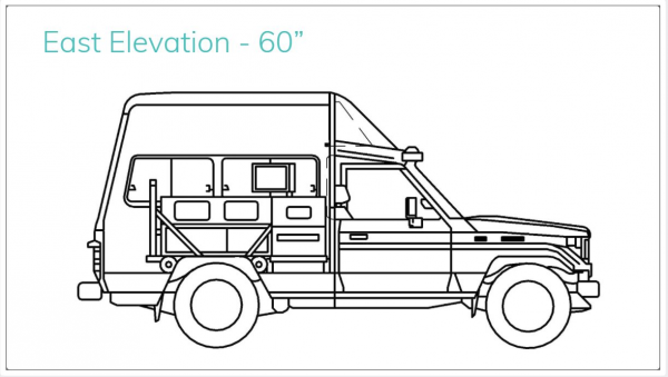A cross-sectional view of the East side of the vehicle. Rendering done by Alexa Boyd