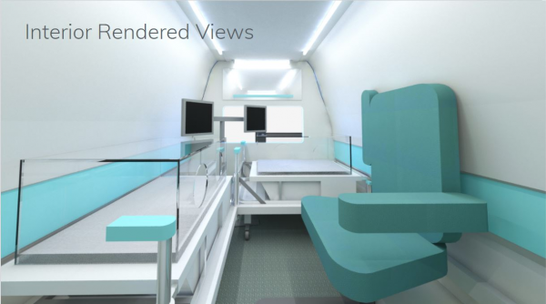Zoomed in rendering of the inside vehicle space and the equipment inside (Alexa Boyd).