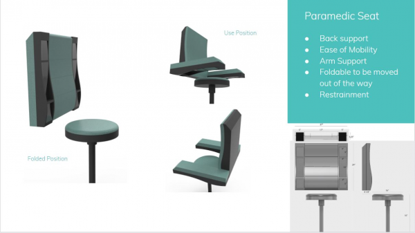 A design consideration for the paramedic chair orientation and mobility. Design and rendering by Ankha Kosbayar