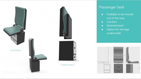 Design and dimensions for passenger chair incorporating under seat storage. Rendering by Ankha Kosbayar