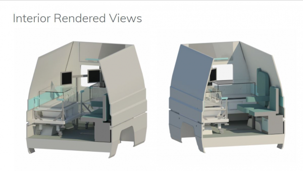 A 3D rendering of the vehicle space, and equipment inside. Rendering by Alexa Boyd