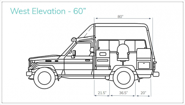 A cross-sectional view of the West side of the vehicle. Rendering done by Alexa Boyd