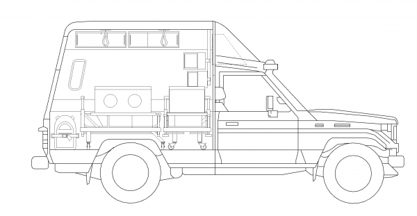 Image 3: The new elevation plan with the shelving above the incubator, removed passenger seat, and added details.