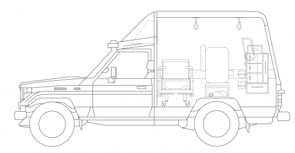 Image 4:The new elevation plans with added detail, and the passenger seat removed in favor of storage.