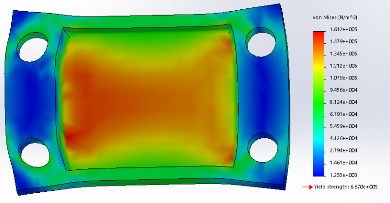 Figure 4: FEA Analysis of 2 Hole Design (Mold Chamber under 5N uniaxial load, with 1mm fillet)
