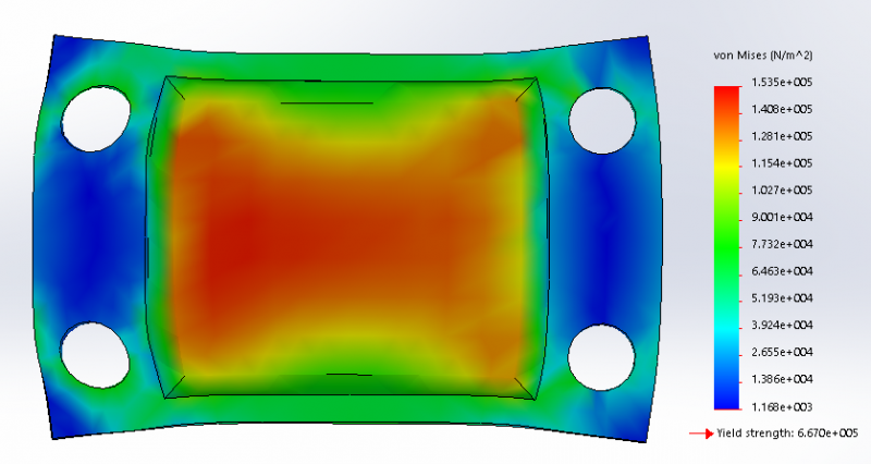 Figure 5: FEA Analysis of 2 Hole Design (Mold Chamber under 5N uniaxial load, with 2mm fillet)