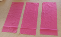 Cut 3 sheets of fabric for the cover oversized to account for material thickness.