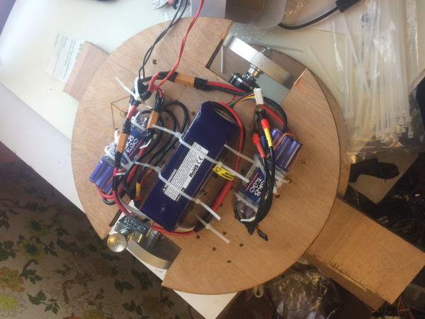 Wired Motor Controller and Motor Hardware Attached to Prototype Frame