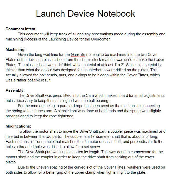 Launch Assembly Notebook