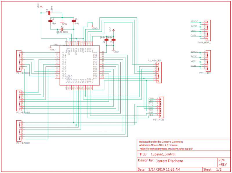 Schematic of microcontroller pin breakout