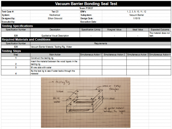 Vacuum Barrier- Bonding Seal Test