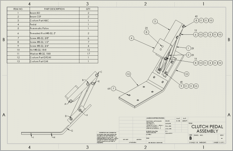 Clutch Pedal Assembly Drawing