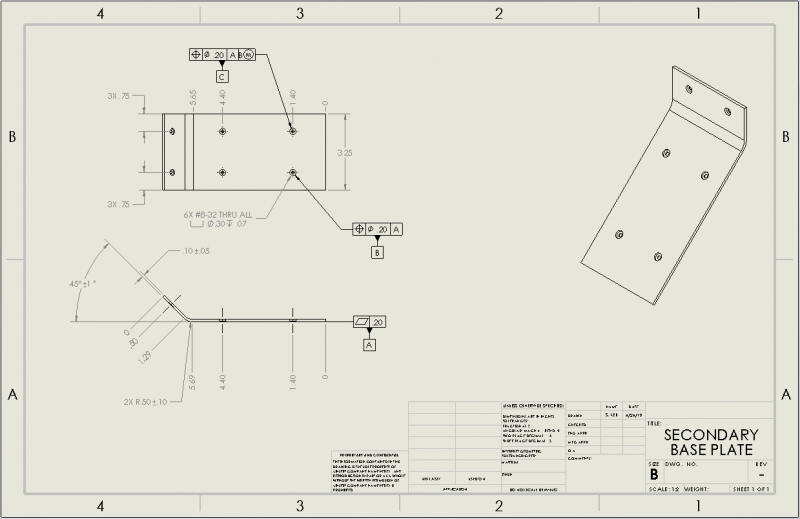 Secondary Base Plate Drawing