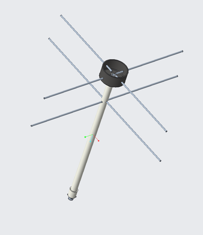 Isometric Top View of Turnstile Antenna