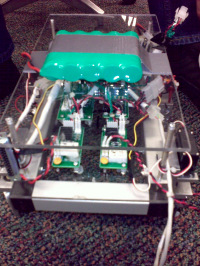 Image of the 2nd Generation motion controller attached to makeshift chassis.